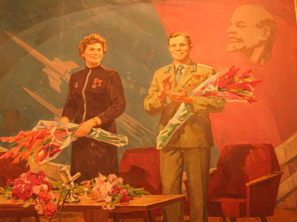 Valentina Tereshkova, first woman in space, and Yuri Gagarin