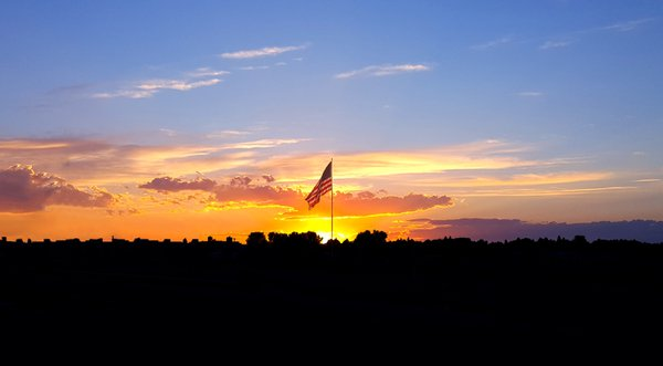 Sunset through the flag thumbnail