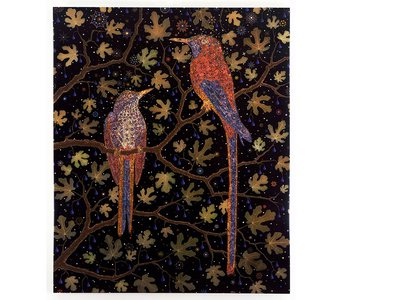 Fred Tomaselli, Migrant Fruit Thugs, 2006.