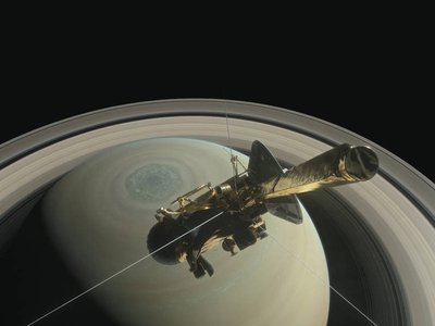 This illustration shows NASA's Cassini Spacecraft above Saturn's northern hemisphere.