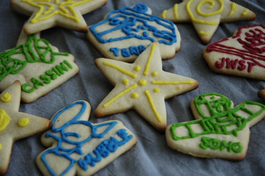 Blogger Sarah brought NASA-mission-themed cookies to the office last week