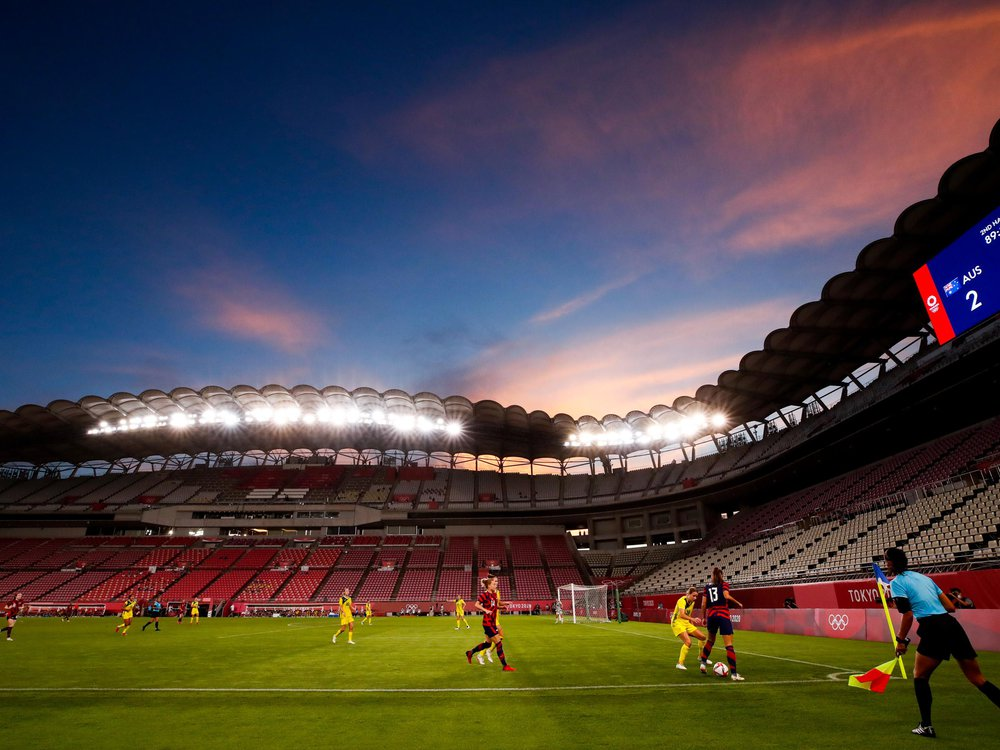 General sunset view of Kashima Stadium during the Olympic football bronze medal match between United States and Australia at Kashima Stadium on August 05, 2021