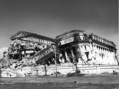 Damage to the Philippine Legislative Building as a result of World War II. At the time, the Philippines was a U.S. colony.