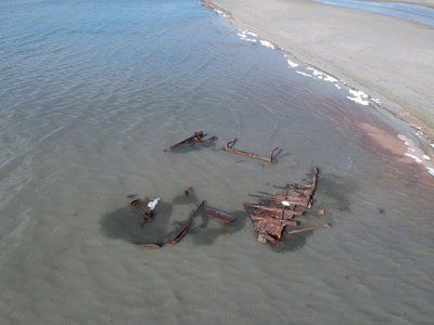 A storm on the Great Salt Lake in Utah exposed the wreckage of what may be a 100-year-old boat.