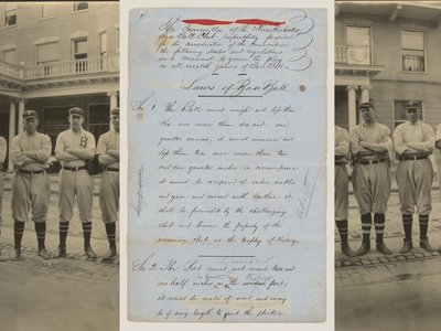 """The rediscovered 1857 """"Laws of Base Ball,"""" dubbed the sport's Magna Carta, (above, with a 1911 image of the Brooklyn Baseball Club) makes its first appearance in a major exhibition at the Library of Congress."""