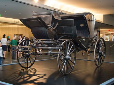 The carriage that transported President Abraham Lincoln, Mary Lincoln, Major Henry Rathbone and his fiancée Clara Harris to Ford's Theatre is on view at the American History Museum through May 25, 2015.