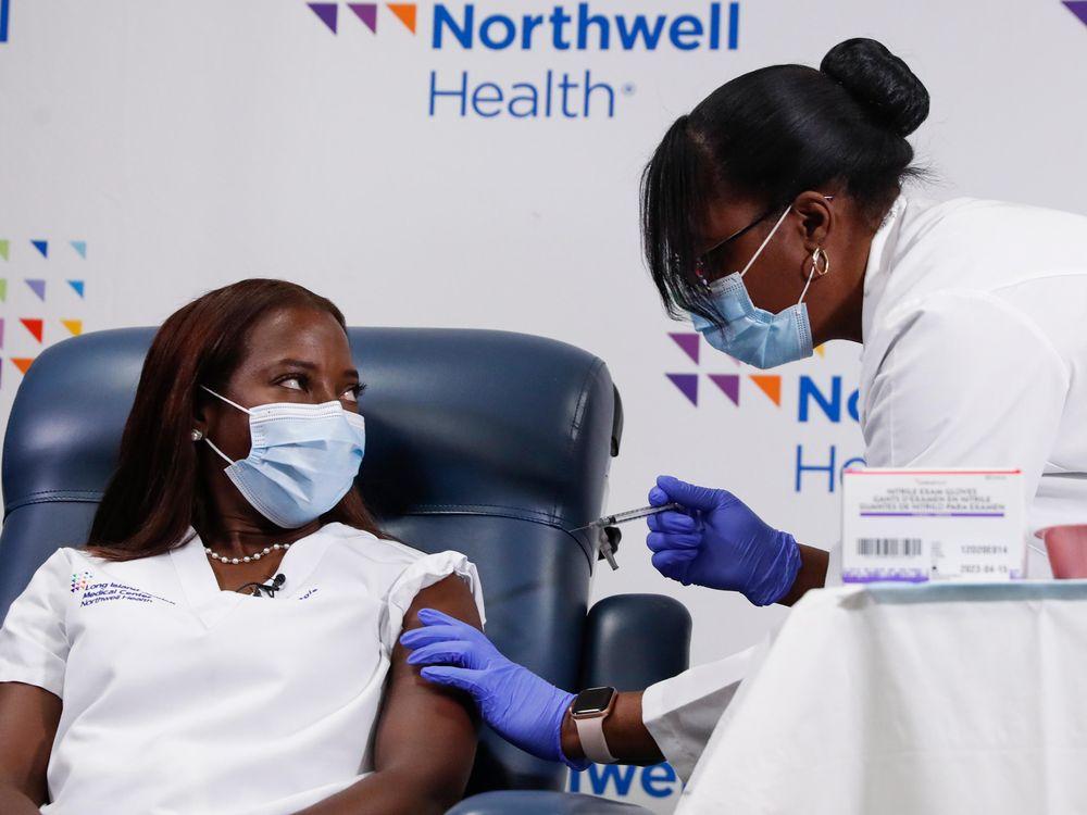 Pictured: Nurse Sandra Lindsay receives the second dose of a Pfizer coronavirus disease (COVID-19) vaccine