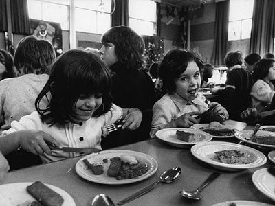 British schoolchildren dig into a lunch of fish sticks in 1974. Since its debut in 1953, the frozen food has proved to be a hit among kids and adults, owing to its palatability, low cost, and convenience.