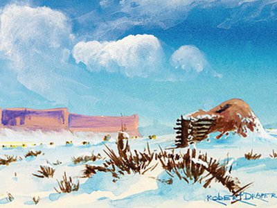"""Hogan in the Snow,"" ca. 1985. Painted by Robert Draper (Diné [Navajo], 1938–2000). Chinle, Navajo Nation, Arizona. 26/6481"