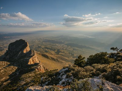 """Guadalupe Peak and El Capitan: a landscape """"lonely as a dream,"""" wrote Edward Abbey."""
