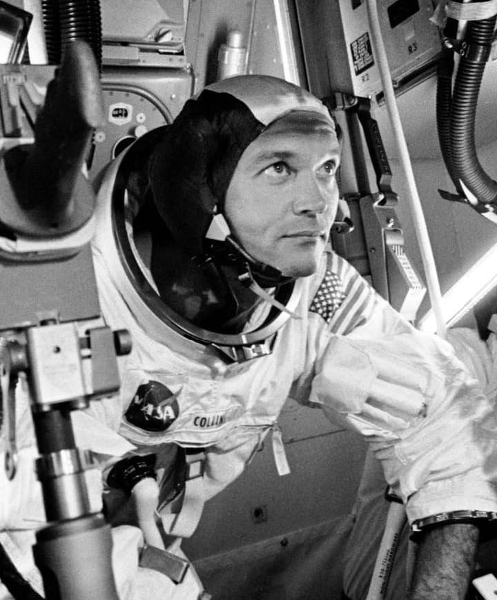 Michael Collins in a spacesuit