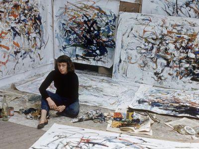 Joan Mitchell in her Paris studio in 1956