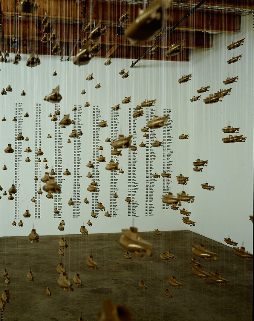 Image of the installation of Chris Burden's All the Submaries of the United States of America