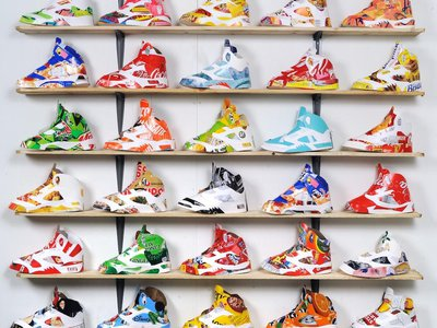 """For """"Overboard,"""" artist Andy Yoder created more than 200 Nike Air Jordan sneakers using garbage."""