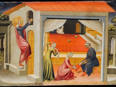 Saint Nicholas, Bishop of Myra, is shown throwing three balls of gold through a window, providing the dowry of three poverty-stricken maidens in an altarpiece painted between 1433 and 1435 for a monastery in Florence. The design was based on an altarpiece by Gentile da Fabriano of 1425.