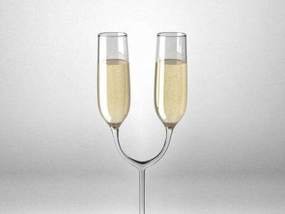"""A """"deliberately inconvenient"""" twin champagne glass created by Athens-based architect Katerina Kamprani"""