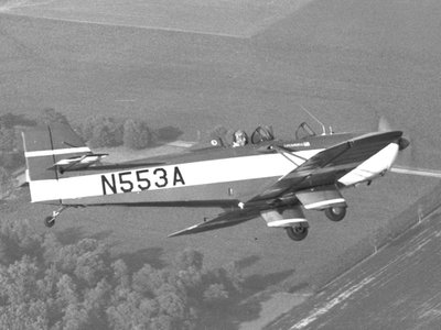 Aircraft designer Neal Loving flying his WR-3 near Springfield, Ohio.