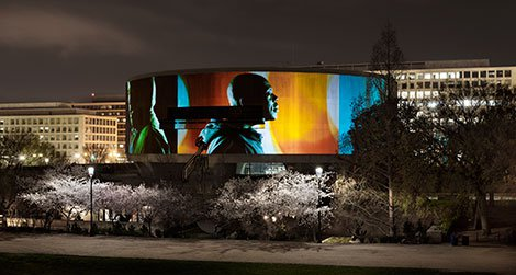 Framed by the springtime blooms, the Hirshhorn rocks the city.