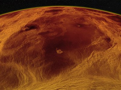 A radar image of Venus' largest block of crust, located in the planet's lowlands and identified by the authors of a new paper.