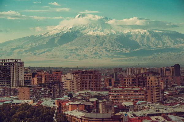 View of the city of Yerevan and Mount Ararat from the cascade. thumbnail