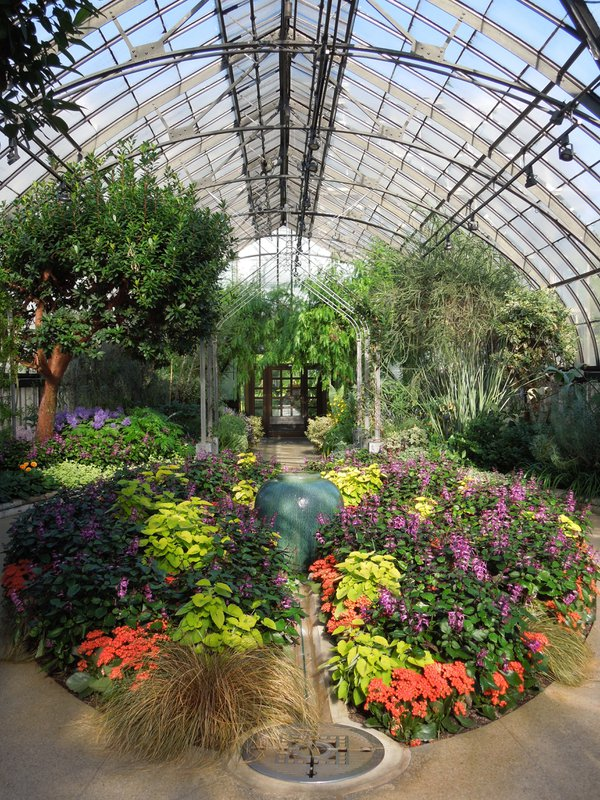 Longwood Gardens Conservatory, long shot, flowers and trees thumbnail