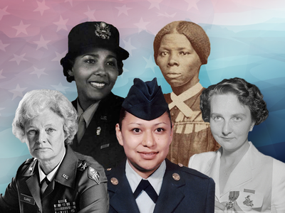 Clockwise from top left: Charity Adams Earley, Harriet Tubman, Edith Nourse Rogers, Lori Piestewa and Mary E. Clarke