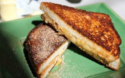 A fried peanut butter and banana sandwich