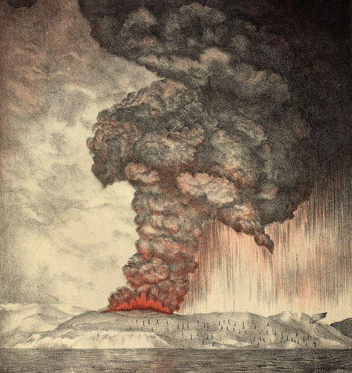 An 1888 lithograph of the 1883 eruption of Krakatoa
