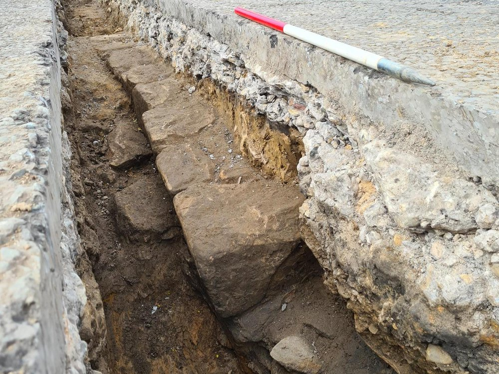 Section of Hadrian's Wall unearthed in Newcastle