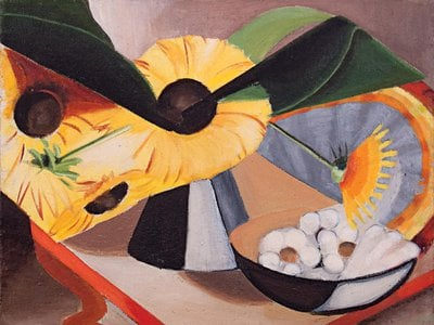 While her paintings eventually became entirely abstract, Bongé's earlier work included lively port scenes and Cubist-inspired still-lifes (Sunflowers and Squash, 1944).