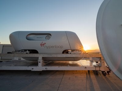Virgin's hyperloop system uses magnetic levitation technology to reduce friction and low-pressure sealed vacuums along the track that minimize air resistance.