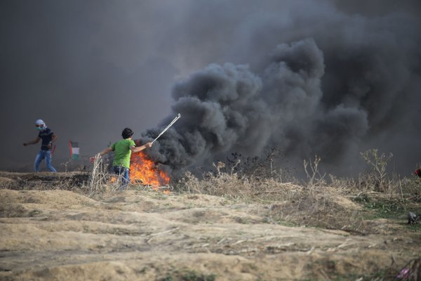 Clashes in a borders of Gaza Strip with Israel thumbnail