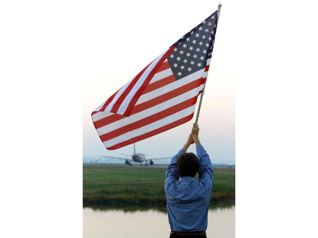 Michael Gordon with American Flag