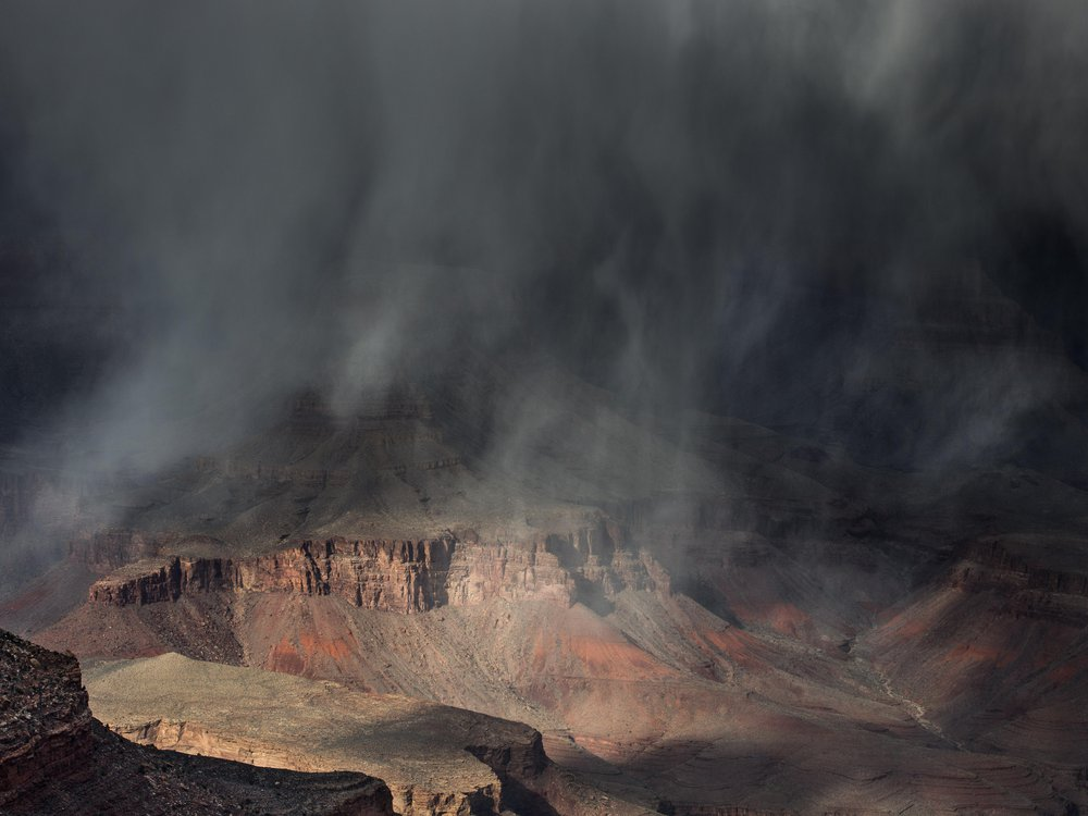 Dark, cloudy rainstorm over the Grand Canyon