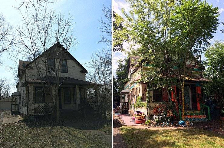 Vibrant Art Installations Infuse New Life into Abandoned Houses in This Cleveland Neighborhood