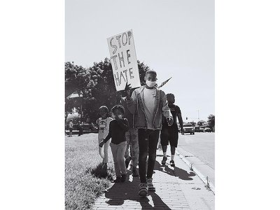 After George Floyd's death, Jason Allende, 13, and his family joined protesters in Junction City, Kansas, on May 29, 2020.