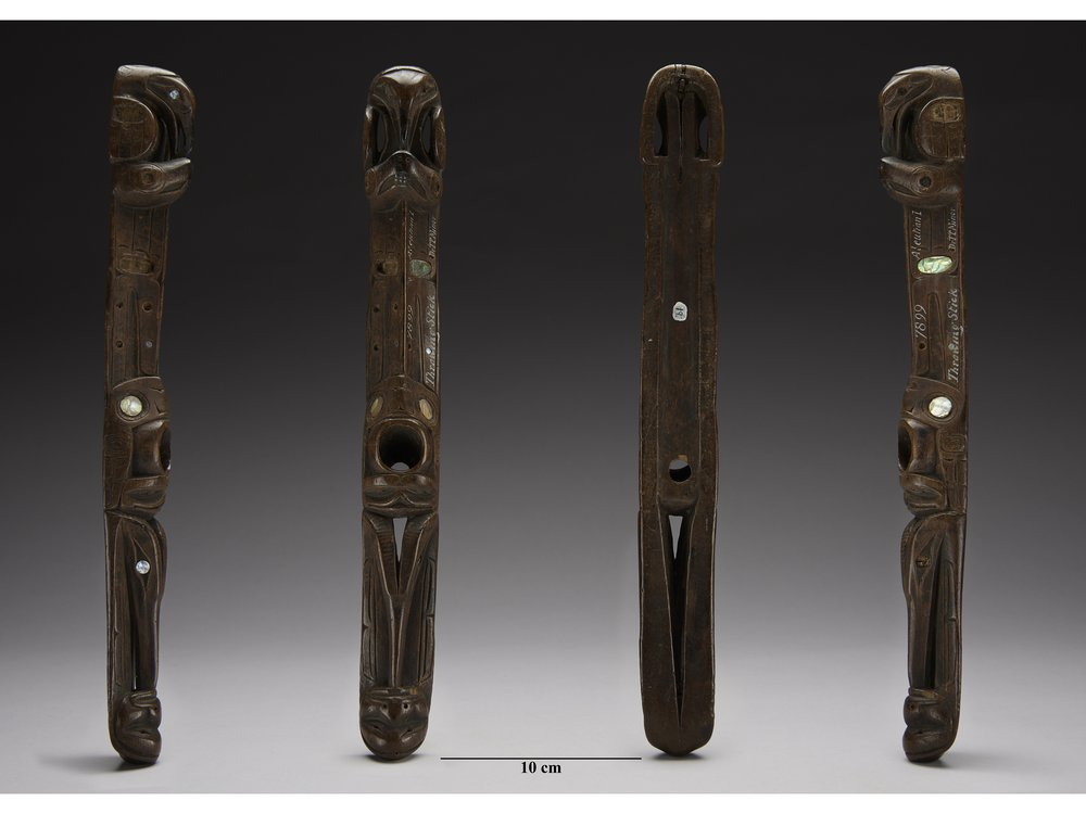Four views of a Shee aan. SI Catalog #E7899. (Brittany M. Hance, Smithsonian)