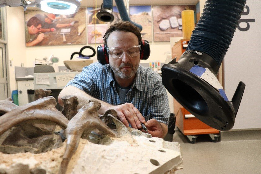 A volunteer wearing ear and eye protection as he works to free fossil bone from rock at a work bench in the Smithsonian's FossiLab.