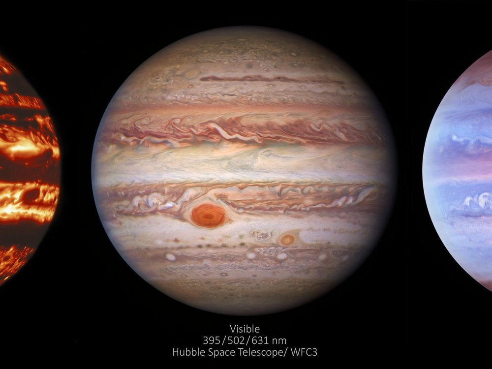 An image of three images of Jupiter. Each one is showing how jupiter's atmosphere changes in infrared, visible and ultraviolet light conditions.