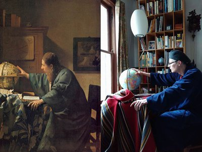 Johannes Vermeer's The Astronomer, 1668, (left) and recreation by Zumhagen-Krause and her husband featuring tray table, blanket and globe (right)