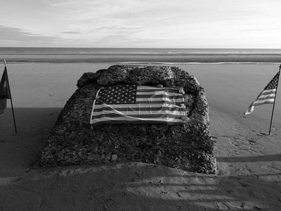 """""""Ray's Rock"""" on Omaha Beach, where medic Ray Lambert was part of the first wave during D-Day"""