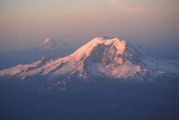 Aerial view of Mt. Rainier with Mt. Adams in the distance thumbnail