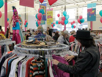 Customers shop during at the AIDS Healthcare Foundation's Out of the Closet thrift store in Columbus, Ohio.