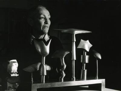 Artist Meret Oppenheim, photographed by Margrit Baumann in 1982
