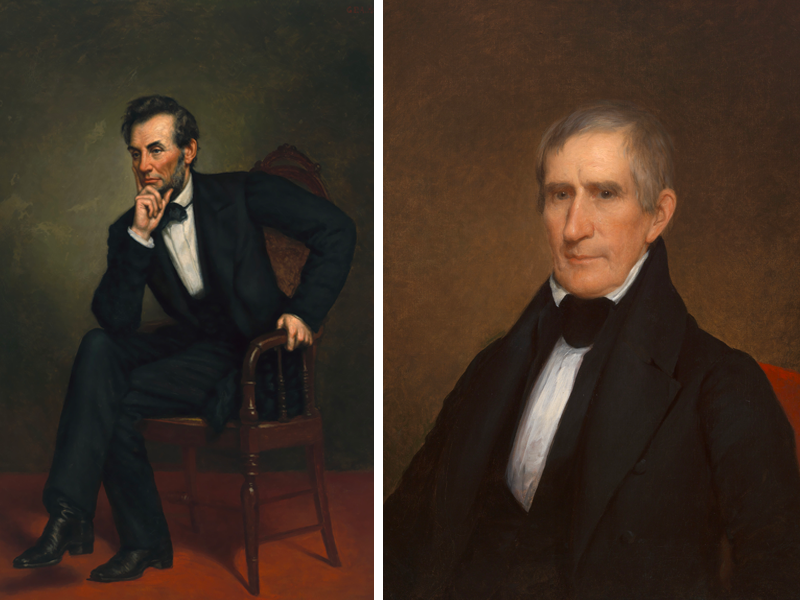 Portraits of Abraham Lincoln and William Henry Harrison