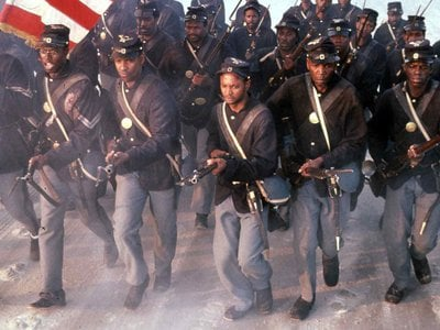 Denzel Washington won an Oscar for his role as one of the soldiers of the 54th Massachusetts.