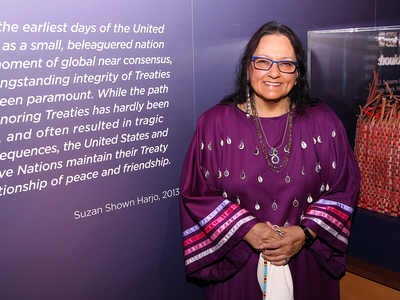 Suzan Shown Harjo (Cheyenne and Hodulgee Muscogee) at the opening of the exhibition