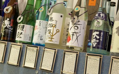 Bottles of imported sake line the shelves at True Sake, in San Francisco. Soon, the small retail shop will begin carrying sake made in America.