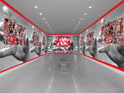 Barbara Kruger's rendering of exhibition entryway at the Art Institute of Chicago, 2011/2020