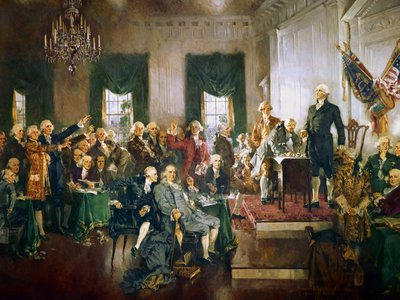 """""""Scene at the Signing of the Constitution of the United States"""" by Howard Chandler Christy. James Madison is at center, seated, to the right of Ben Franklin."""